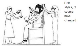 Cartoon of Egyptian hair stylists