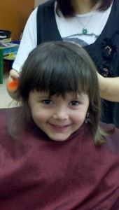 Patricia first professional haircut