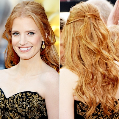 red carpet hair styles chastain the official of hair cuttery 3252 | 022612 Jessica Chastain 400