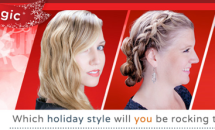 Three women with various holiday hair styles makeover banner