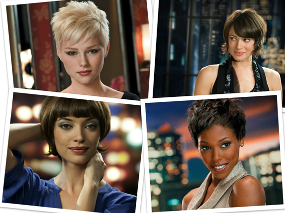 4 images of girls with short hair