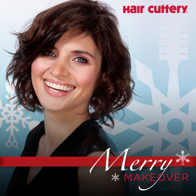 short hair woman on Hair Cuttery Merry Makeover banner