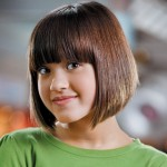 young teen with short bob with bangs