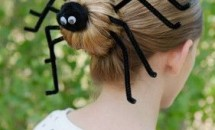 hair bun with pipe cleaners fashioned into spider legs