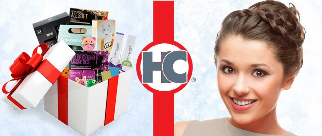 woman with braided updo and box full of hair products gift sets