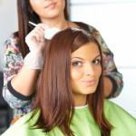 Hair salon. Application of cosmetics.