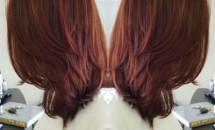 Long bob with dark red hair color
