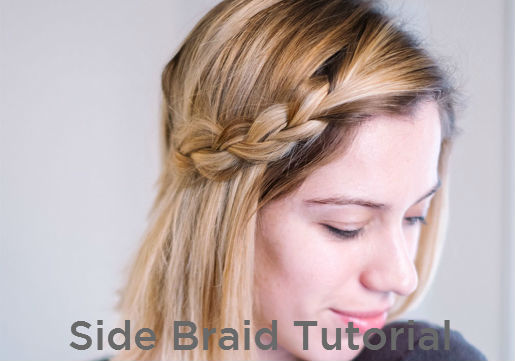 Side braid on long bob