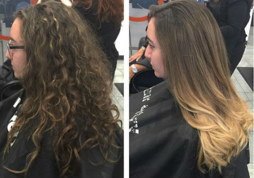 before and after balayage highlights