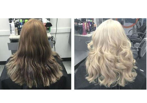 Brown to blonde before and after