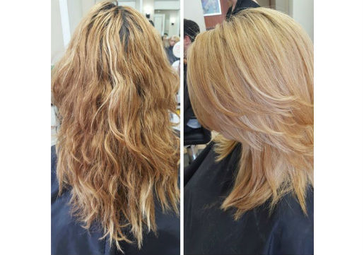 Before and after of shorter cut and blonde color
