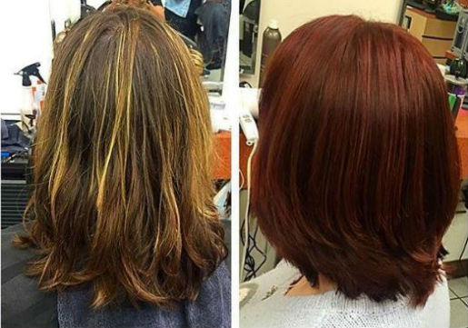 Before and after of blonde to deep red color