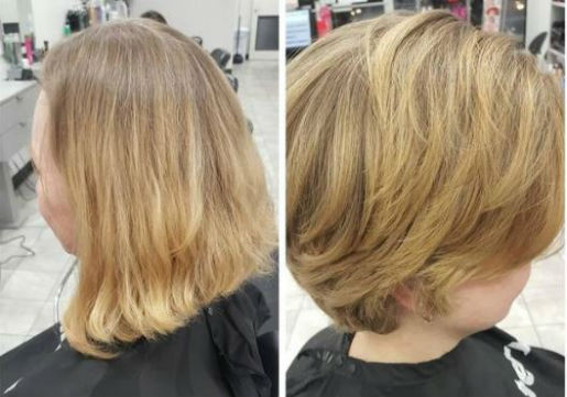 Blonde woman before and after with trim