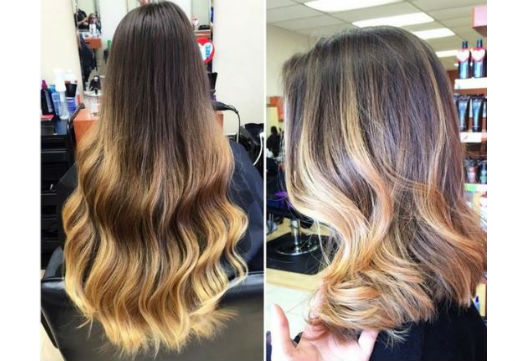 medium length haircut with balayage highlights