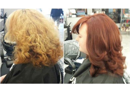 Before and after from blonde to red