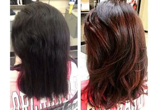 Before and after of rich red color