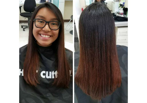 Teenager with subtle red ombre