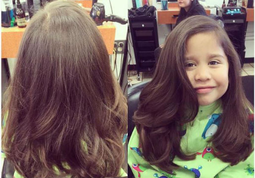 Young girl with volumious blowout