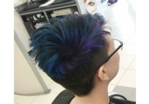 Short cut with blue and purple hair color