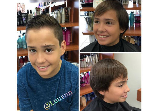 Young boy with slicked back hair, before and after
