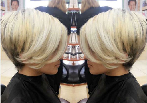 modern, blonde, stacked bob