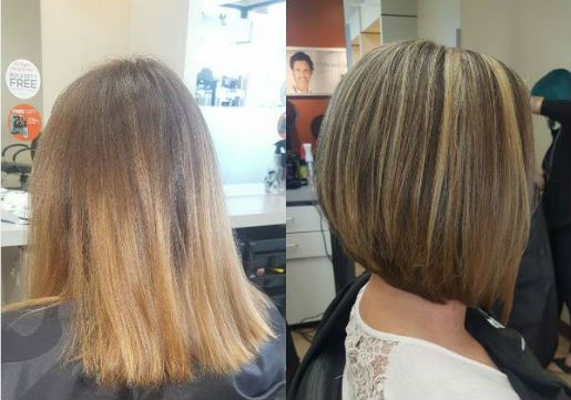 bronde, bob, before and after