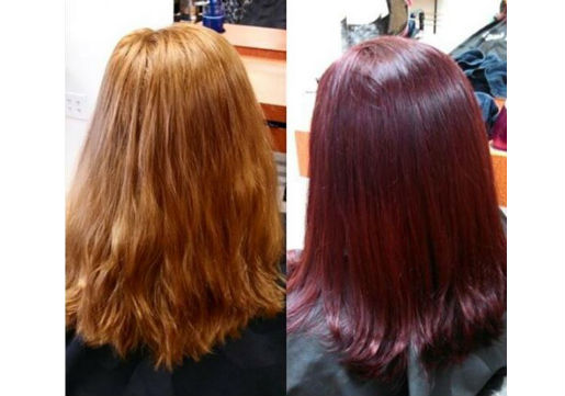 deep red, hair cut, before and after