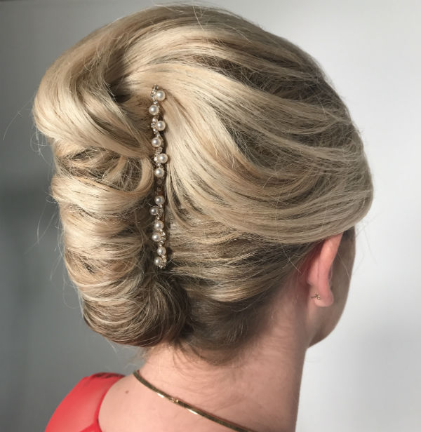 French twist with pearl pins