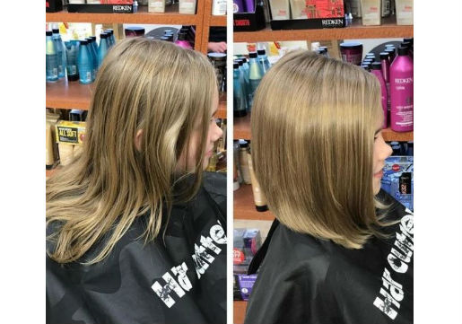 Before and after classic bob cut
