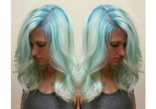 Platinum blonde hair with light blue highlights