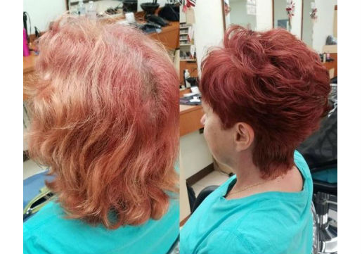 Before and after of pixie cut and red haircolor