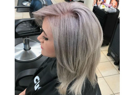 Metallic grey haircolor