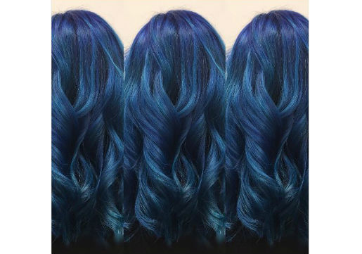 medium length hair with various blue colors