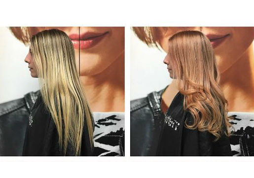 before and after photo of blonde woman with rose gold color added