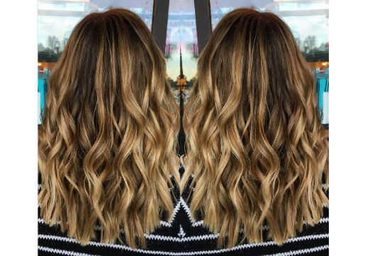 Balayage blonde highlighted hair