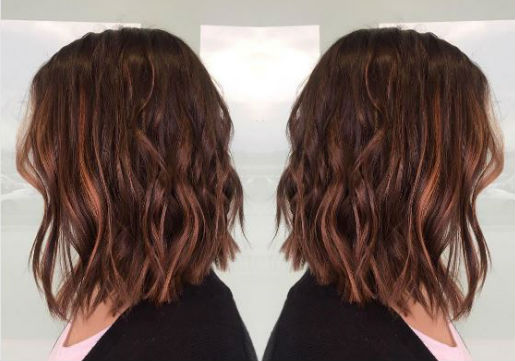 brown shoulder length hair with copper highlights