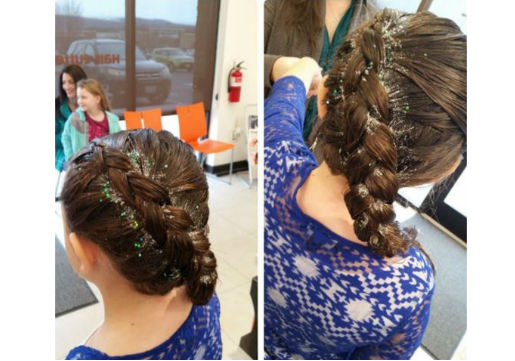 Asymmetrical braid with glitter