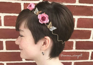 pixie cut with pink flower headband