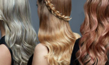 3 women with long cool blonde, sun-kissed blonde and rose gold blonde hair