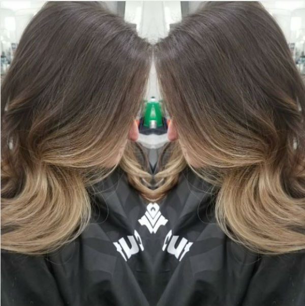 Ombre with blonde face framing balayage highlights