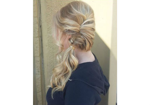 Fishtail braid into a side ponytail