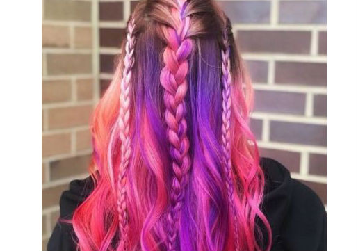multi color hair and braids festival hair
