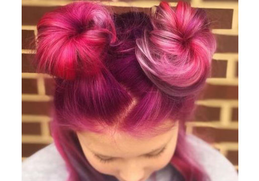 pink half up buns festival hair