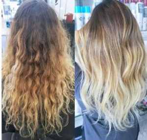 Before and after of blonde balayage highlights from Hair Cuttery