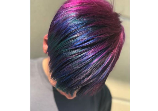 rainbow hair color for brown pixie cut at hair cuttery