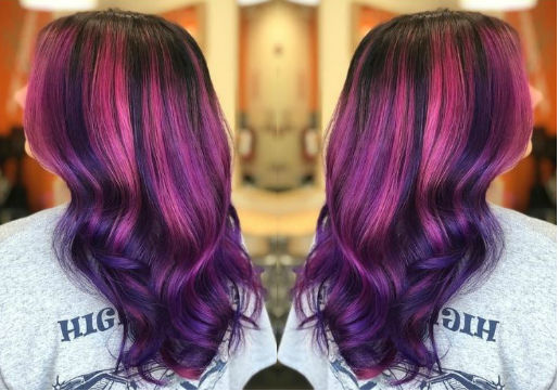 pink and purple hair color from hair cuttery