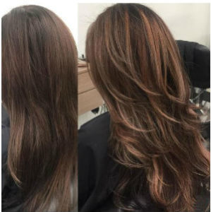 before and after brunette balayage from Hair Cuttery