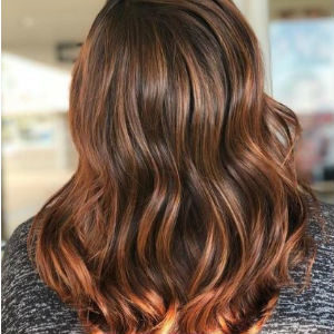 medium brown hair with caramel highlights from hair cuttery