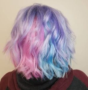 Pastel lilac, pink and blue hair color at Hair Cuttery