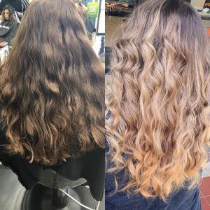 Before and after photo of hair highlighted at Hair Cuttery